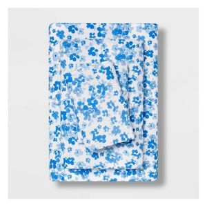 queen easy care printed sheet set blue floral